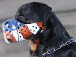 "Hand painted by our artists leather Muzzle ""Dondi"" Plus-Rottweil"