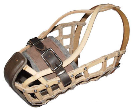 Leather basket agitation dog muzzle for Rottweiler