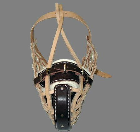 dog training muzzle - wire basket leather dog muzzle