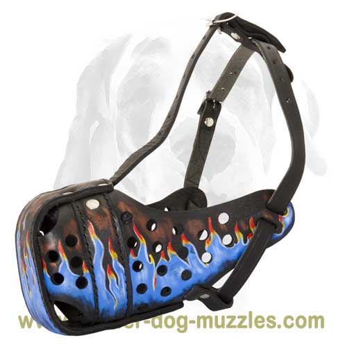 Blue flaming trendy leather dog muzzle